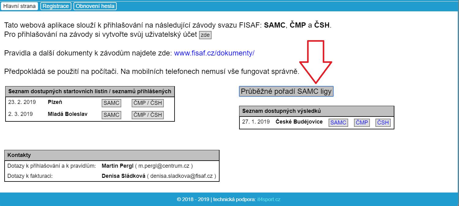 Registrační systém FISAF.cz