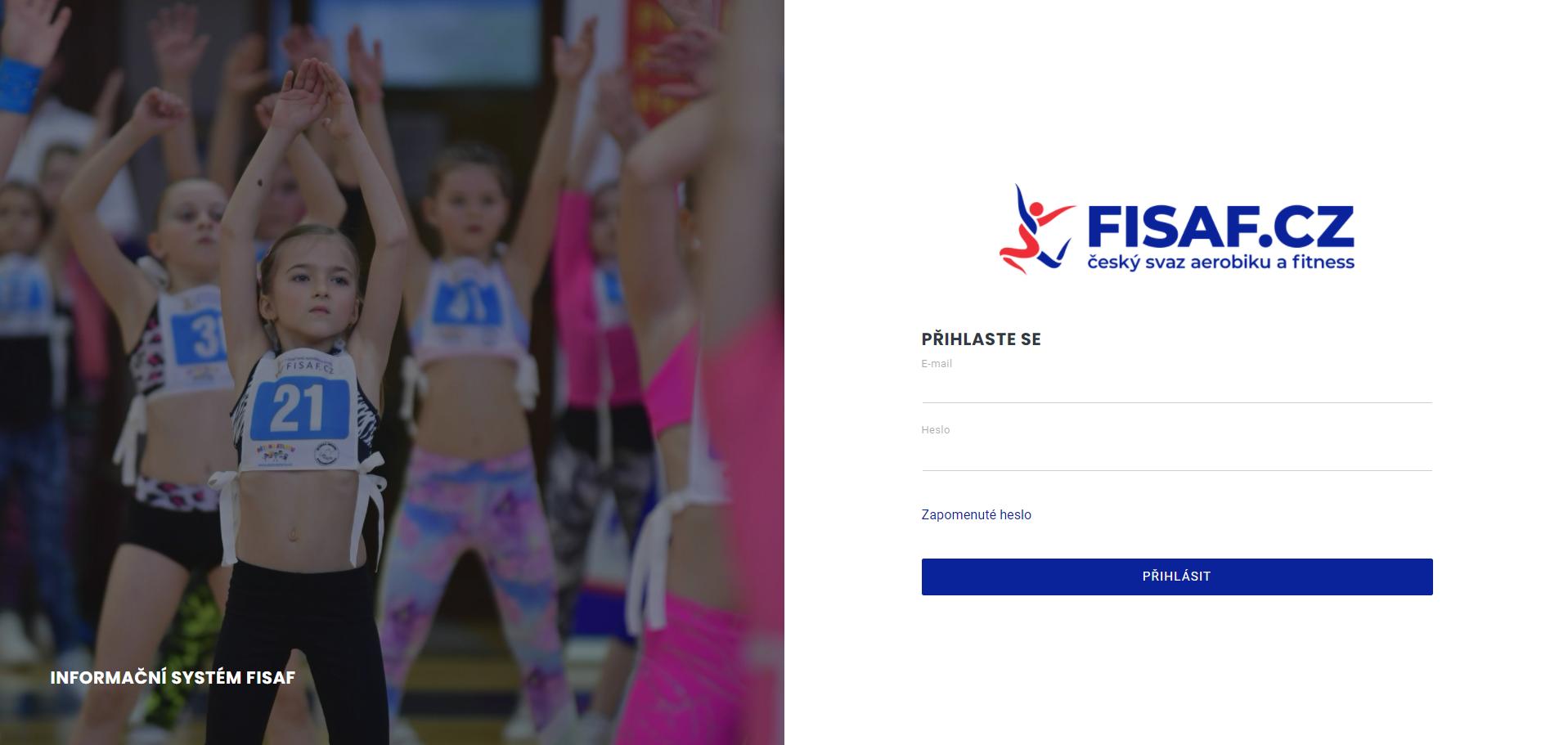 IS FISAF - přihlašovavací stránka